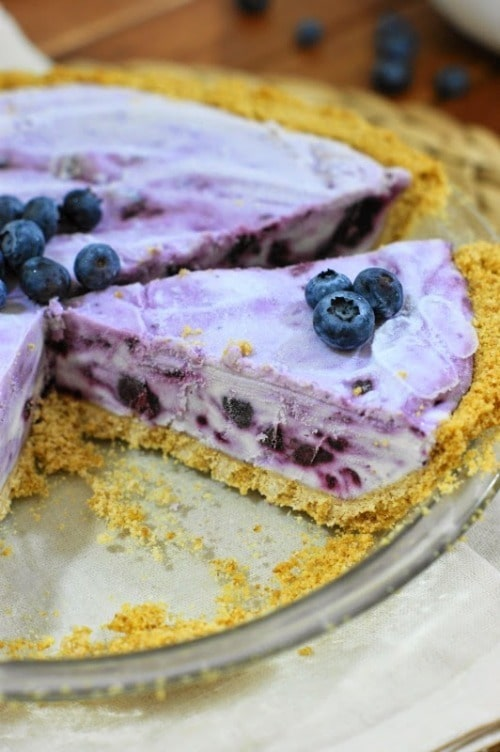 Frozen Blueberry Cream Pie from The Kitchen Is My Playground