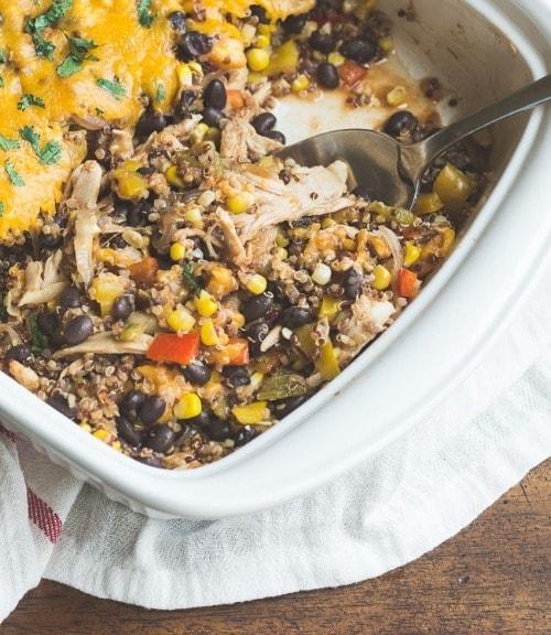 Hatch Chile Southwestern Quinoa Casserole by MJ and Hungryman