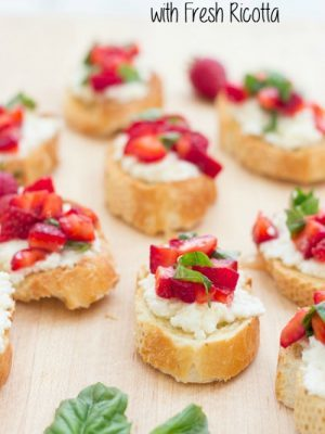 Strawberry Basil Bruschetta with Fresh Ricotta from Kristines Kitchen