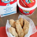 Baked Chicken Strips dipped in a Creamy Parmesan Dip