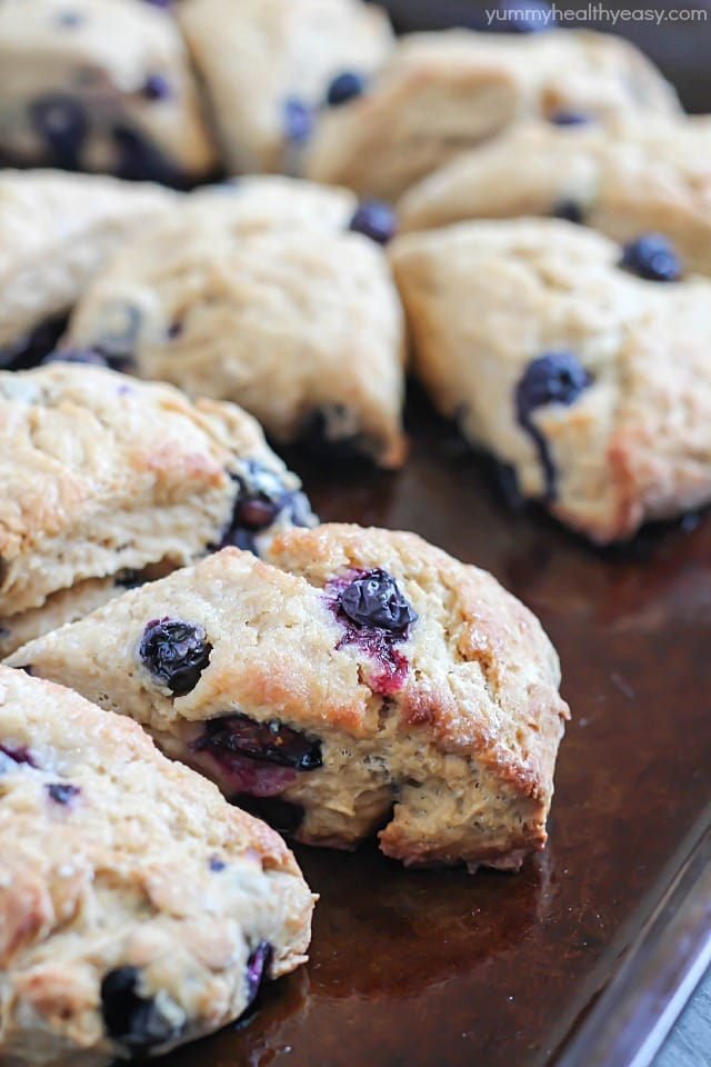 Whole Wheat Blueberry Scones - delicious scones made healthier and filled with blueberries!