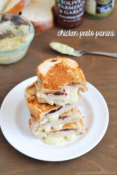 Chicken Pesto Panini with sliced chicken, mozzarella cheese, Mezzetta Everything Spread and a creamy pesto mayo. Ooey, gooey, amazing! #ad