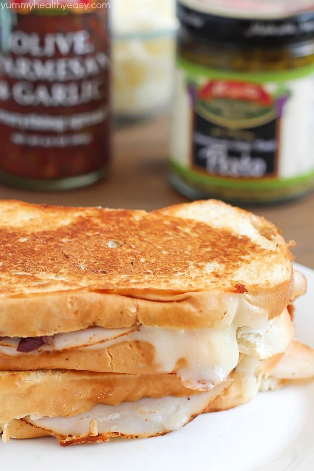 Chicken Pesto Panini with sliced chicken, mozzarella cheese, Mezzetta Everything Spread and a creamy pesto mayo. Ooey, gooey, amazing! #ad