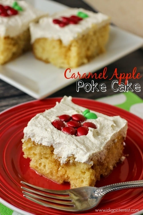 Caramel Apple Poke Cake from I Dig Pinterest