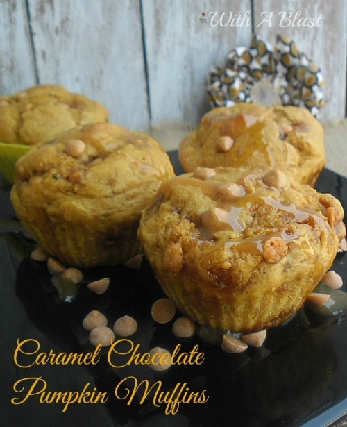 Caramel Chocolate Pumpkin Muffins from With A Blast