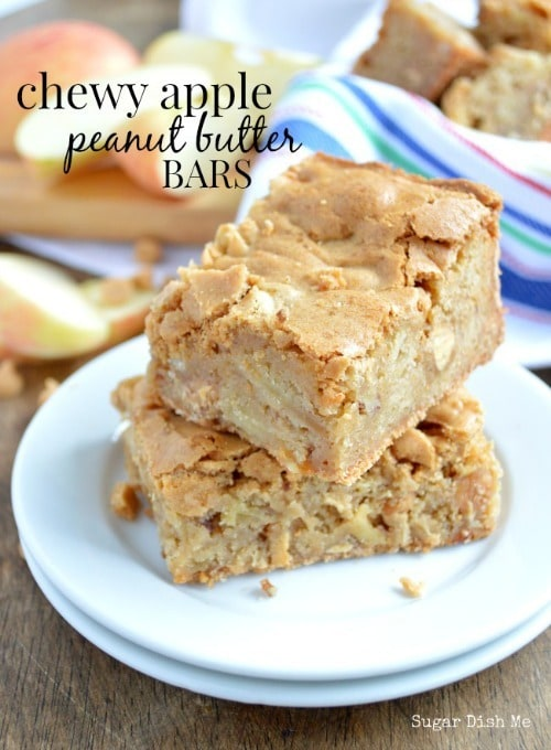 Chewy Apple Peanut Butter Bars from Sugar Dish Me