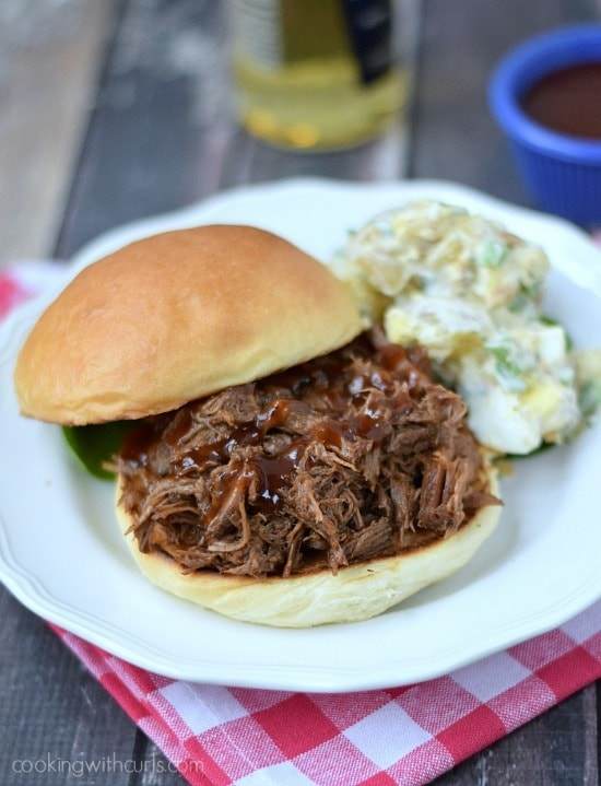 Slow Cooker Barbecue Beef Sandwiches from Cooking With Curls