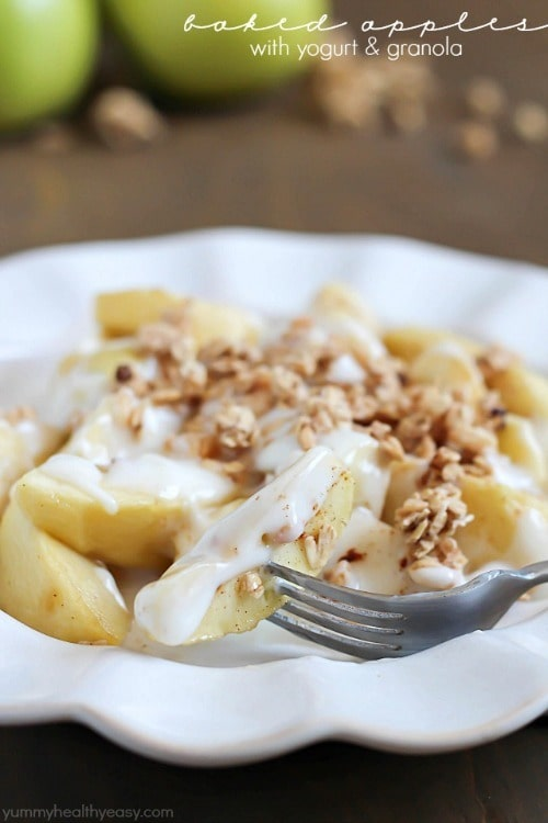 Baked Apples, Yogurt & Granola