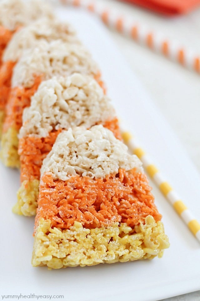 Candy Corn Rice Krispie Treats are a fun Halloween tradition!