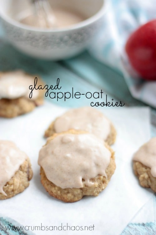 Glazed Apple Oat Cookies from Crumbs and Chaos