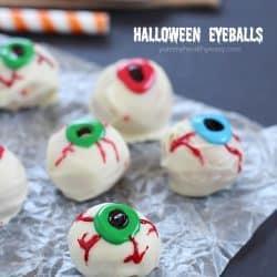 Peanut Butter Truffle Halloween Eyeball Recipe - a spooky Halloween treat with only 4 ingredients!