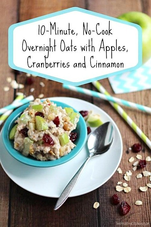 No-Cook Overnight Oats with Apples Cranberries & Cinnamon by Two Healthy Kitchens