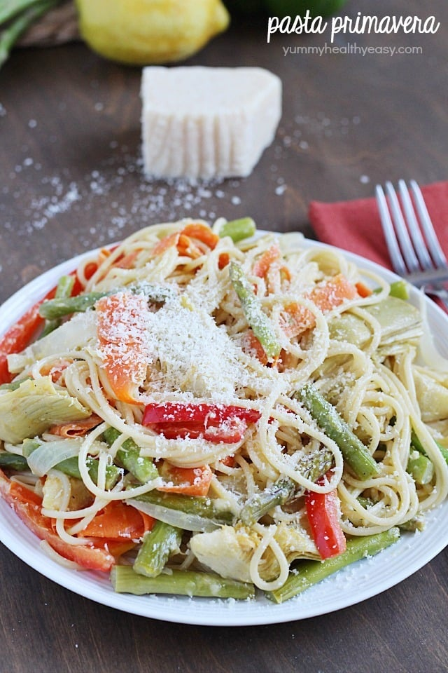 Pasta Primavera lightened up and filled with veggies for a healthy and ...