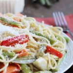 Pasta Primavera lightened up and filled with veggies for a healthy and light meatless dinner!