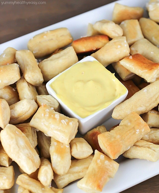 Pretzel Bites dunked in an EASY honey mustard dipping sauce...perfect ...