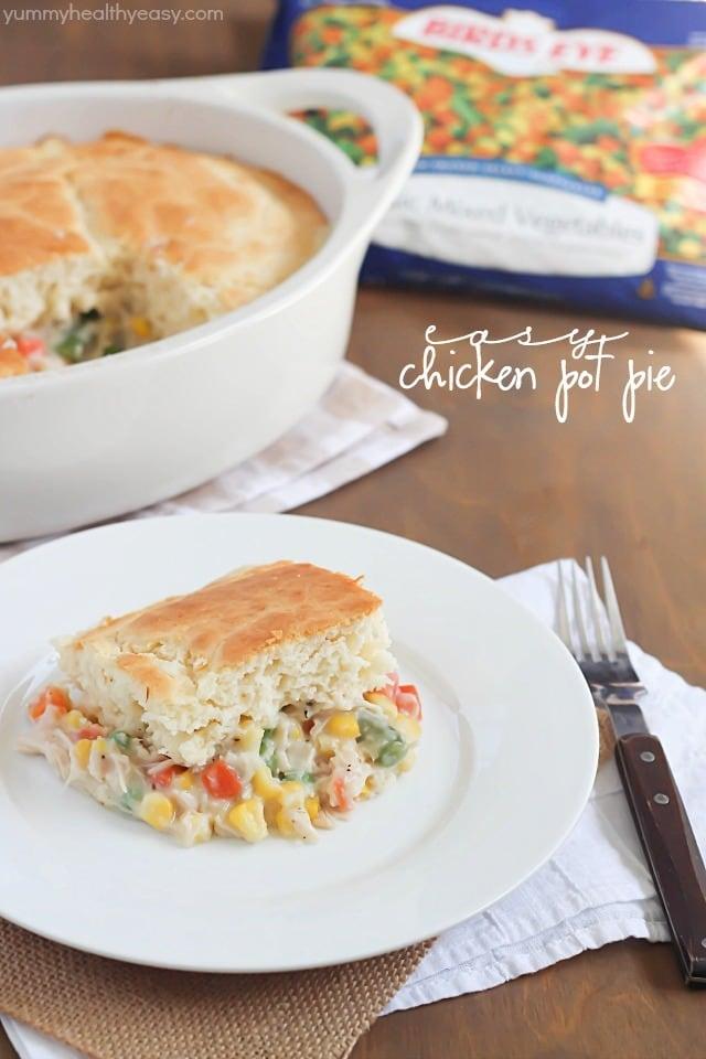 Quick and easy chicken pot pie recipe using baking mix, frozen veggies ...