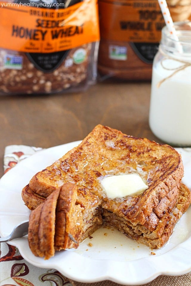 Crazy amazing Pumpkin French Toast made healthier by using egg whites ...