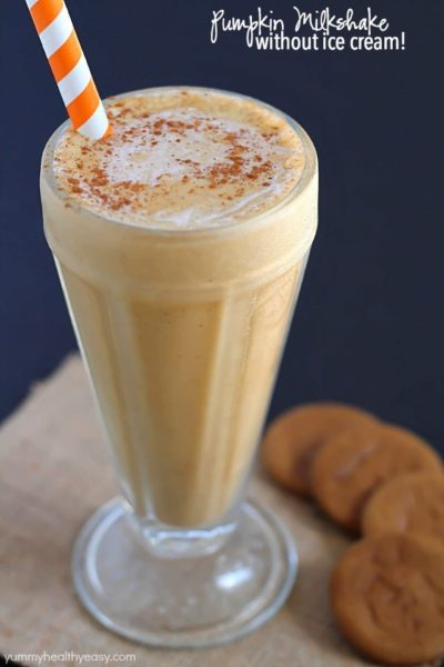 Creamy, smooth pumpkin milkshake made without ice cream! Once you try this method, you'll never make a milkshake with ice cream again!
