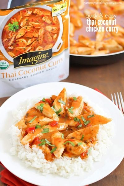 Quick & Easy Thai Coconut Chicken Curry - made in 10 minutes and all in one pan. Doesn't get much easier than that! #panwithaplan #imaginenation