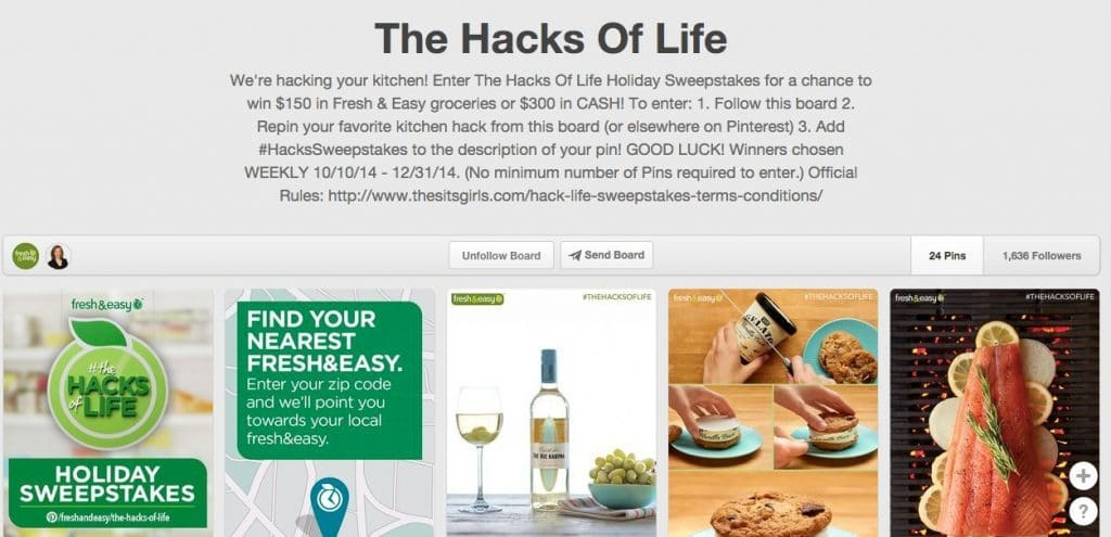 """The Hacks of Life"" Pinterest Board - Holiday Sweepstakes for a chance to win $150 in Fresh & Easy groceries or $300 in CASH! #ad"