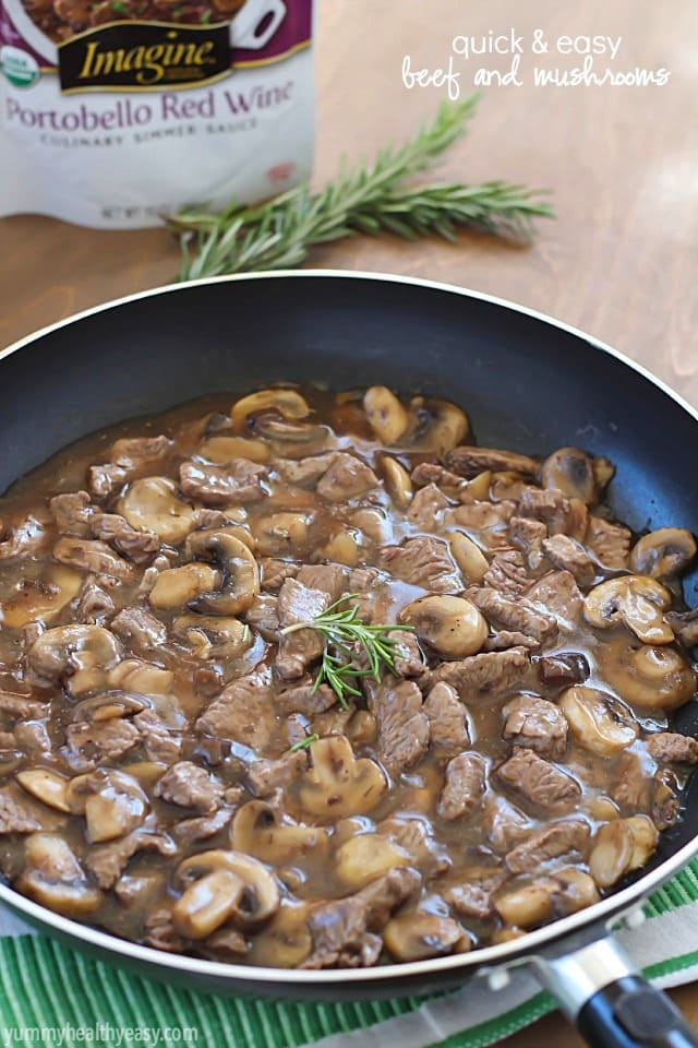 Quick & Easy Beef and Mushrooms recipe, cooked in one pot and in 15 minutes! Perfect comfort food dinner for a busy night, using only 3 ingredients.
