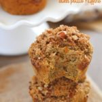 Gluten Free Sweet Potato Muffins (with cranberry sauce inside, too- perfect fall breakfast!) topped with a brown sugar-nut topping. So moist & delicious!