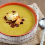 Split Pea Soup with Bacon and Homemade Parmesan Croutons! So flavorful and delicious!