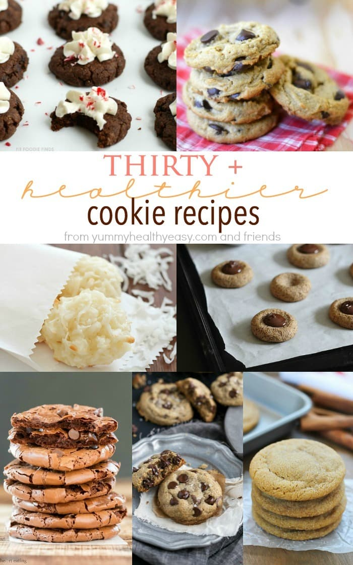 30+ Healthier Cookie Recipes Roundup -  healthy cookie recipe options from my blogger friends that you can add to your holiday baking list. They'll save you some calories and still taste great!