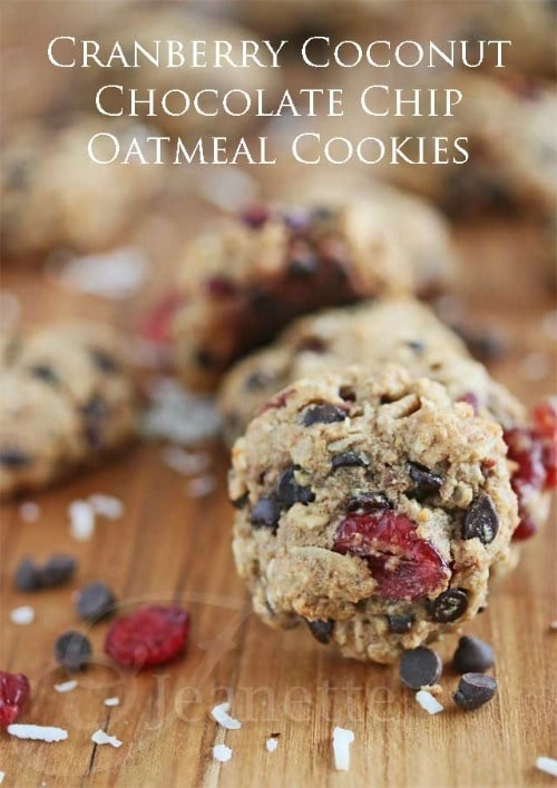 Cranberry Coconut Chocolate Chip Oatmeal Cookie from Jeanette's Healthy Living