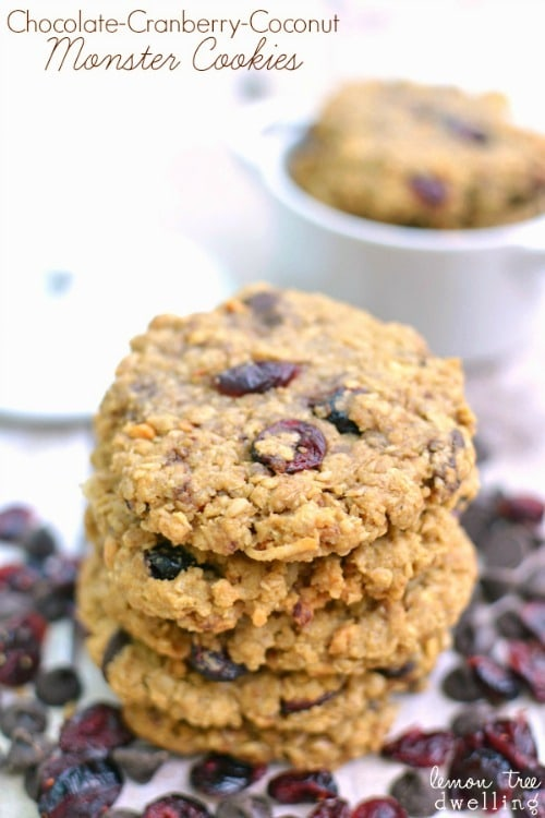 Cranberry Coconut Monster Cookies from Lemon Tree Dwelling