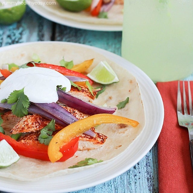 This Quick & Easy Chicken Fajitas Recipe is not only simple, but is healthy and tastes great! The clean up is a breeze, too. My kids love this easy dinner!