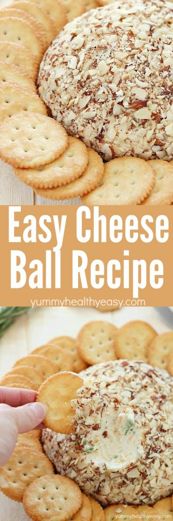Get ready to be the star of the party when you show up with this super easy cheese ball! It's sure to impress any guests! It's creamy, tangy, irresistible and won't take more than a few minutes to whip up.