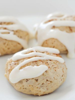 Soft (healthier) Eggnog Cookies drizzled with a light eggnog glaze over the top makes for a pretty darn near perfect dessert!