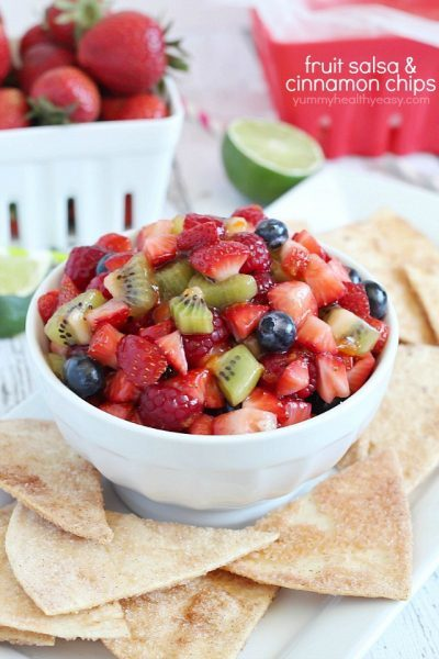 Delicious fruit salsa with easy and delicious cinnamon chips - the perfect healthy snack to satisfy your sweet tooth!