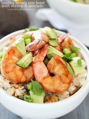 Healthy Brown Rice Bowl with Shrimp & Avocado with a delicious sauce - a light and easy dinner that will satisfy and taste great! PLUS a $500 Giveaway for Paypal cash or Amazon Gift Card!