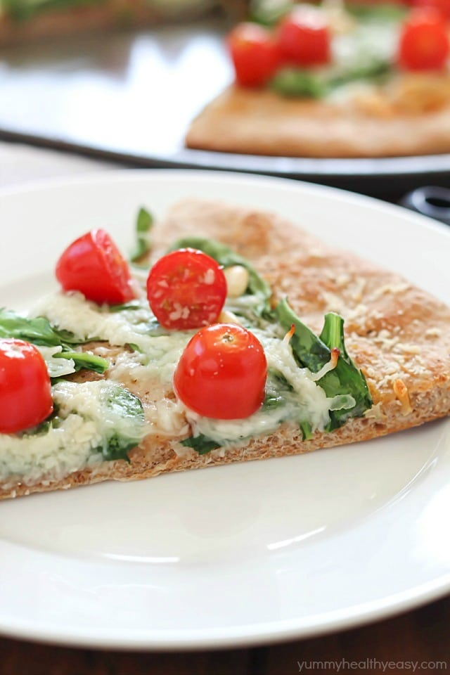 Roasted Garlic, Spinach & Tomato Whole Wheat Pizza - satisfyingly ...