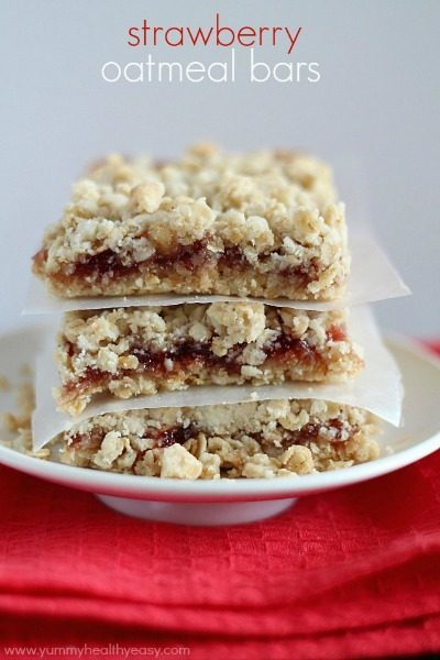 Simply delicious Strawberry Oatmeal Bars using only a handful of easy ingredients (cake mix & strawberry jam!) to make the fastest and yummiest dessert! This is my go-to dessert recipe!