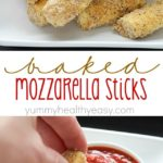 Quick and easy Baked Mozzarella Sticks for the win! A fast crowd-pleasing appetizer of warm and gooey cheese dipped in marinara sauce - yum!