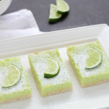 If you like lemon bars, you will love these lime bars! The crust is delicious. The lime layer is divine, light and fluffy, almost like a meringue but full of lime flavor. And the green is perfect for St. Patrick's Day! Recipe @yummyhealthyeasy