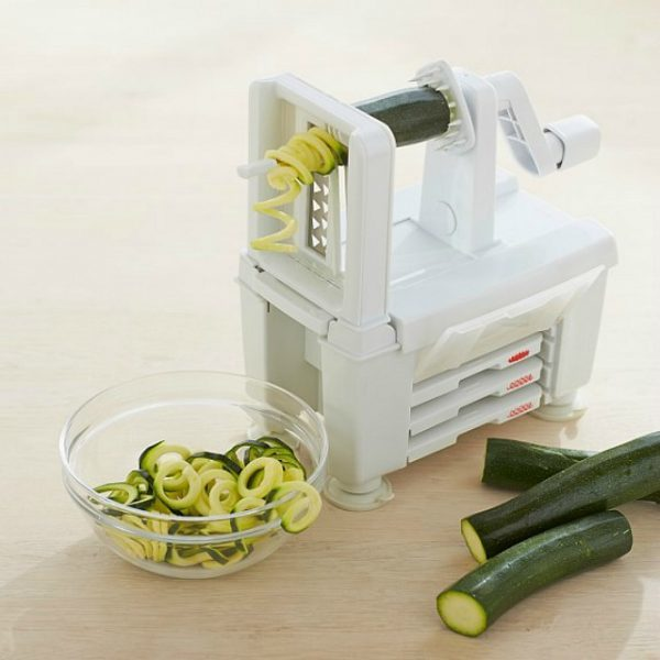Paderno World Cuisine 4-Blade Folding Vegetable Spiralizer Pro The Paderno World Cuisine 4-Blade Spiralizer is an easy-to-use tool that makes vegetable spaghetti, cucumber ribbon strands, curly fries or long, spiral apple strands in seconds/5.