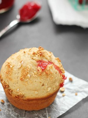 Simply delicious Strawberry Breakfast Muffins filled with strawberry jam!