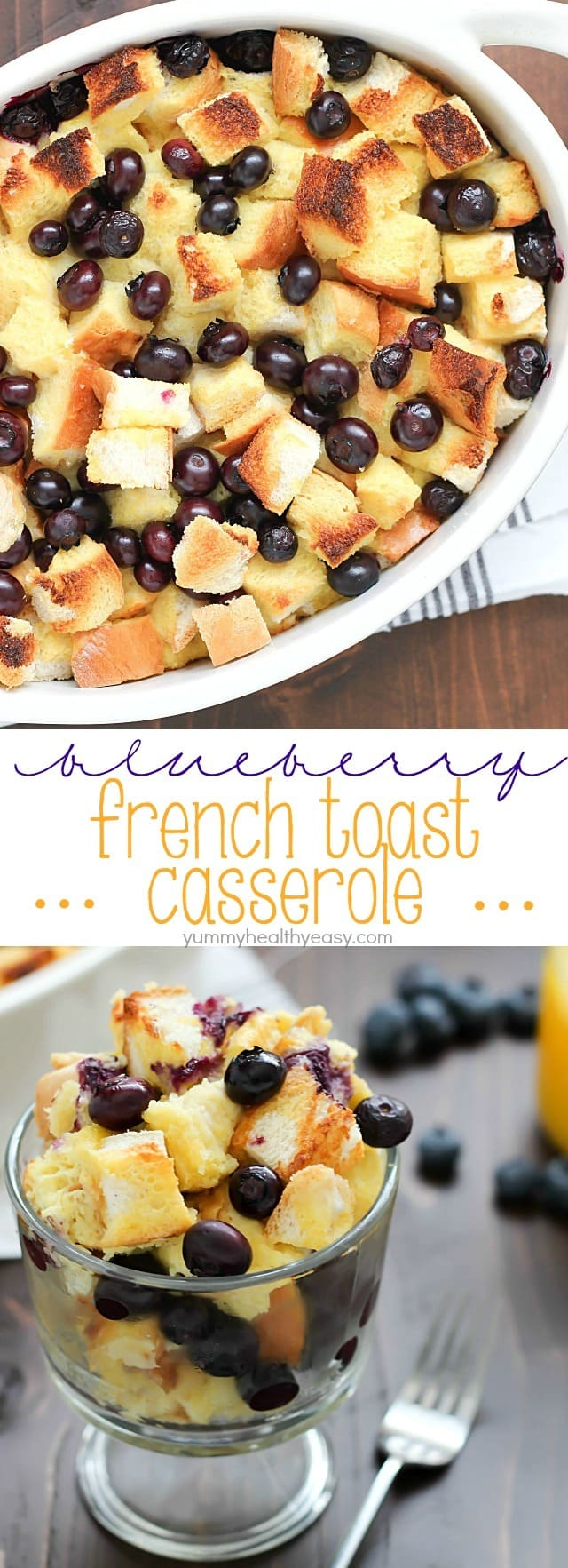 What's better than french toast? Blueberry French Toast Casserole! Delicious casserole with cubes of bread and blueberries baked in an egg and orange juice mixture. Perfect for Easter breakfast... or breakfast any day!
