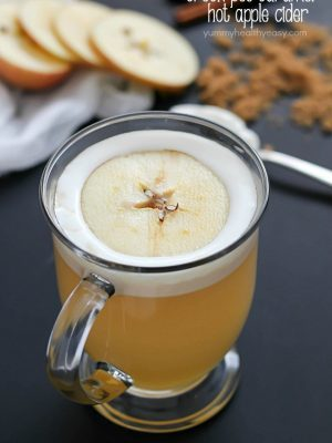 Warm, creamy, delicious caramel hot apple cider cooked right in the crock pot, and with only 4 easy ingredients!