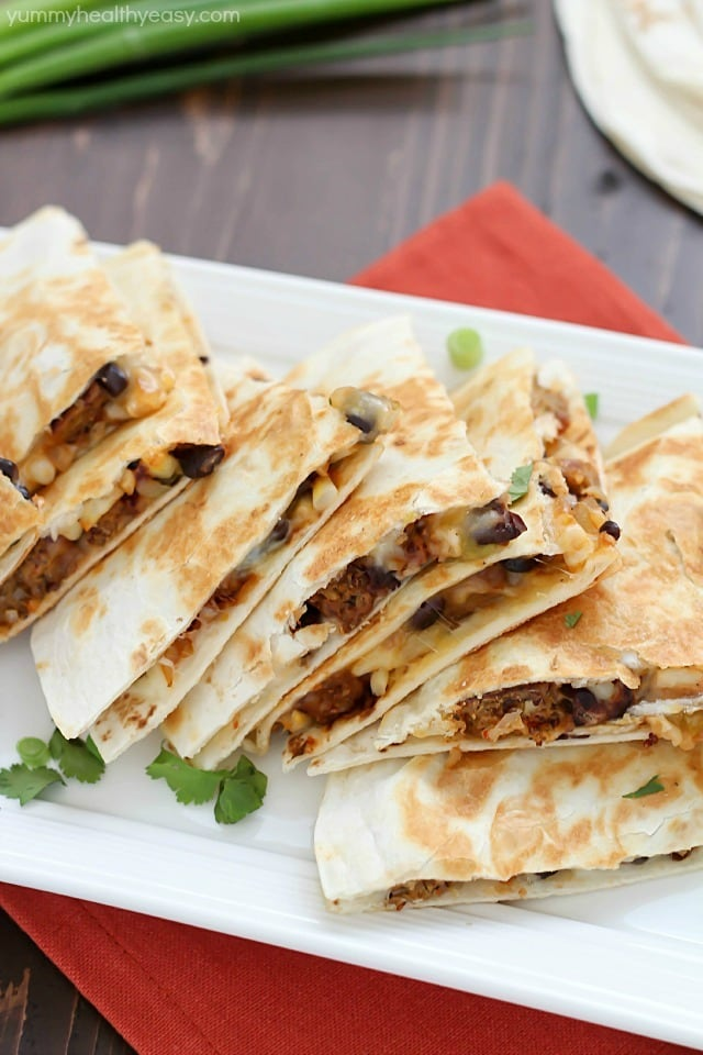 This quick & easy vegetarian quesadilla is full of healthy proteins and of course, veggies. You will love the flavor combo of black beans, corn, onions, salsa and Boca veggie patties. This is a satisfying meal that doesn't take long to make and will fill you up for hours. Plus, it tastes amazing! You won't even know it's healthy! ;) #bocaessentials #ad