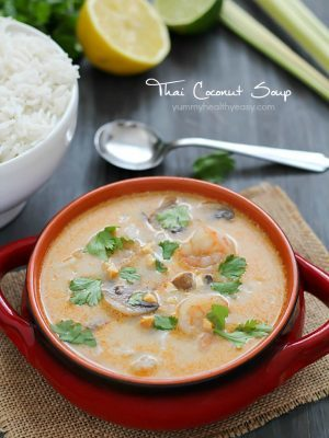 Make your favorite Thai take-out at home with this Thai Coconut Soup. A crazy delicious coconut broth with shrimp, mushrooms and rice - it's comfort food at its finest!