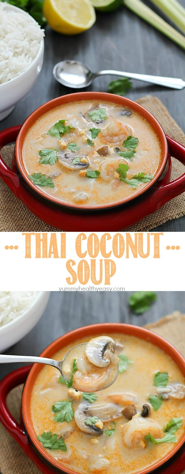 Make your favorite Thai take-out at home with this Thai Coconut Soup. A crazy delicious coconut broth with shrimp, mushrooms and rice - it's comfort food at its finest! {Mystery Basket Challenge}
