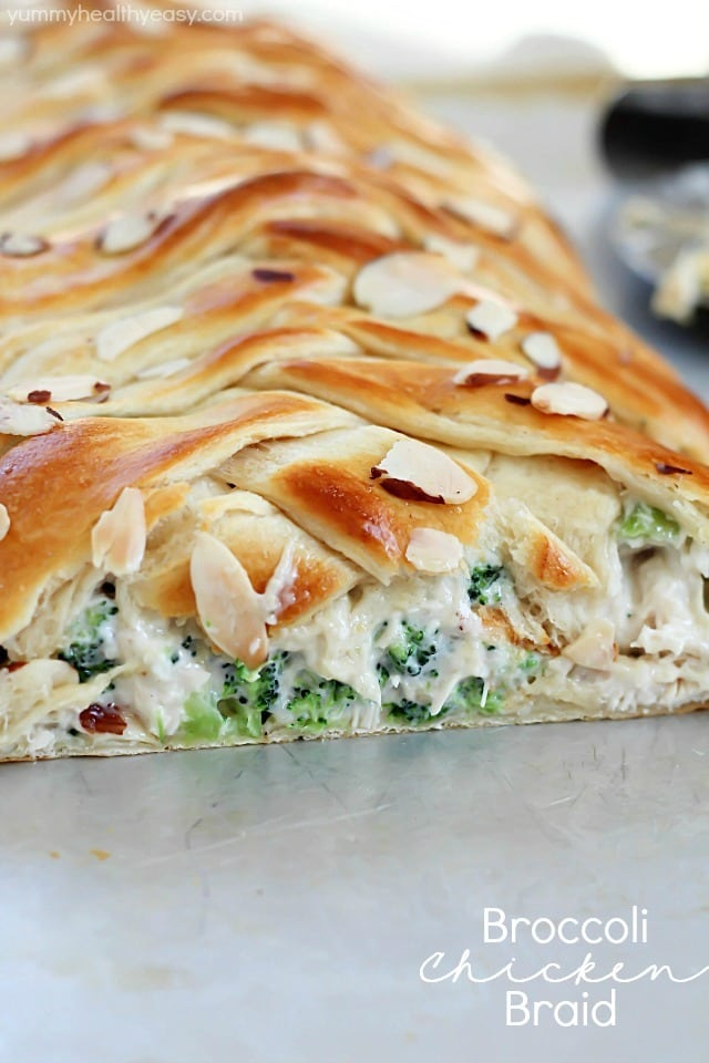 Broccoli Chicken Braid - crescent dough filled with a delicious mixture of chicken, broccoli, mayo and spices, all braided up into a fun braid. An easy dinner idea the whole family will love!