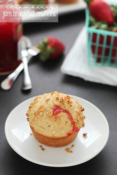 Simply delicious Strawberry Jam (filled) Breakfast Muffins. Make extras and freeze, then heat in the microwave for a few seconds for a quick breakfast!