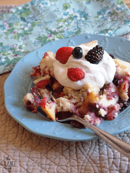 Four Berry Skillet Cobbler - All the great berries of summer in one yummy skillet!