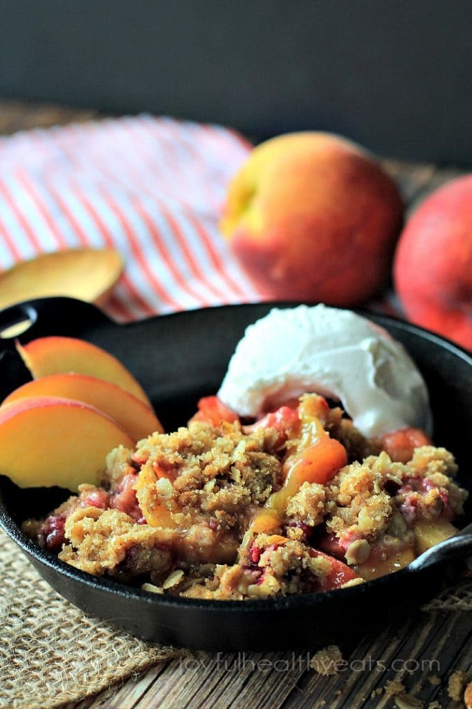 Raspberry Peach Cobbler - The crumble on top of this looks amazing!